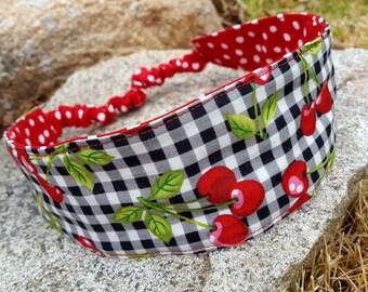 Reversible Headband, Ladies Cherry Gingham Headband, Red Polka-dot  Headband
