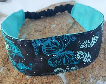 Black & Turquoise Satin Headband, Ladies reversible Butterfly Headband