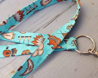 Southwest Lanyard, Aztec Lanyard, Tepee Lanyard, Badge Holder, ID Lanyard, Buffalo Lanyard, Keychain Lanyard