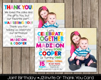 Joint birthday etsy joint birthday party invitation or thank you card siblings twins invitations double birthday brother sister sibling filmwisefo