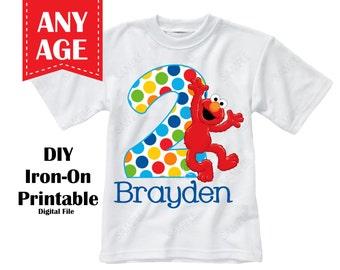 Printable Elmo Iron On Transfer Custom Colors Personalized Name Age - Digital File