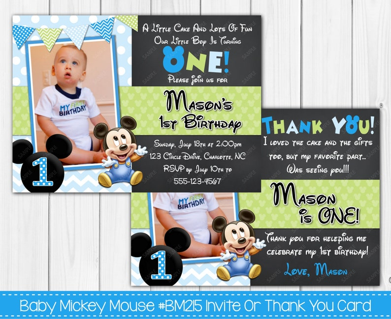 Baby Mickey Mouse 1st Birthday Invitation Or Thank You Card