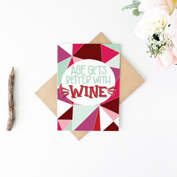 Funny Wine Birthday Card Funny Birthday Card Better With Wine