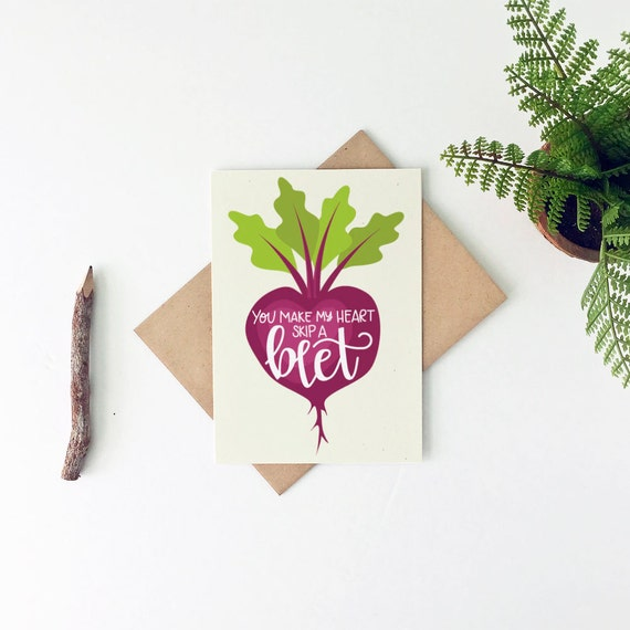 Food Pun Valentine's Day Card - Punny Valentine's Day Card - Skip A Beet  Card - Lesbian Valentine Card - Gay Valentine Card
