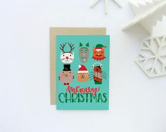 Boxed Set of 8 - Funny Holiday Card - Meowy Christmas Card - Cat Christmas Card