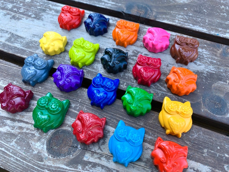 Woodland Crayons Set of 40 Fox Party Favors Gifts For Kids Kids Gifts Owl Party Favors Woodland Party Favors Forest Animals