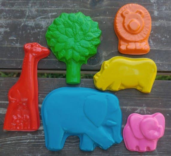 Safari Crayons set of 6 - Elephant Crayons - Rhino Crayons