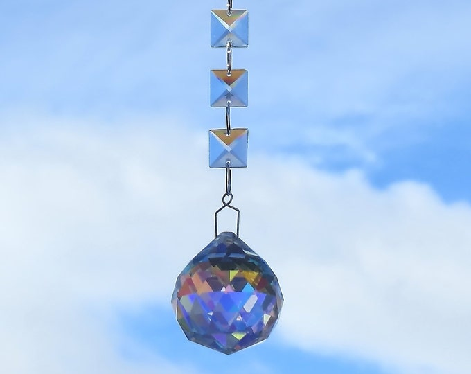 Sun catcher with square crystal prisms and the large 40mm iridescent full lead crystal faceted ball
