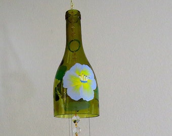 Wine bottle windchime, Amber wind chime, Blue and Yellow flowers, yard art, patio decor, recycled bottle wind chime, hand painted chime