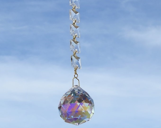 Sun  catcher, Yard art, Clear prism, Crystal prism's, Window art, Rear view mirror hanger, Gift idea,