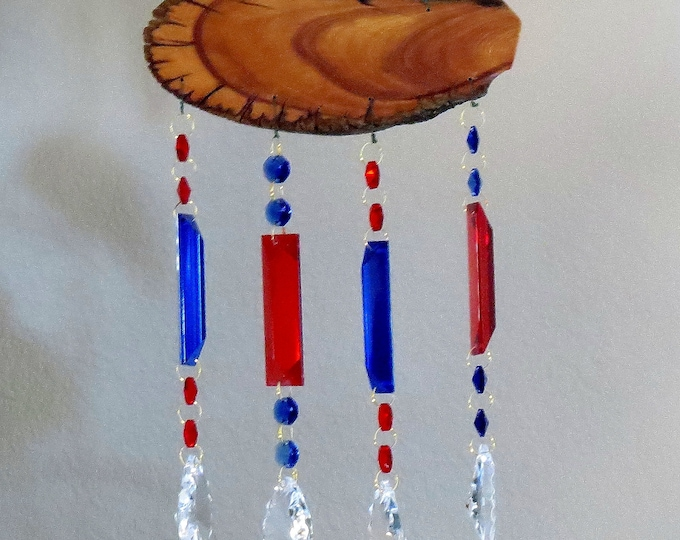 Red, white and blue crystal prism suncatcher with Juniper wood