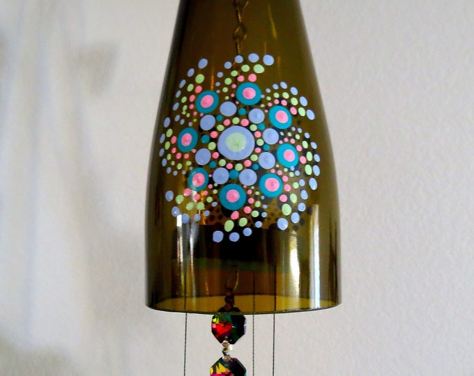 Recycled  bottle wind chime, Dark Amber wine bottle, Yard art, Glass bottle wind chime, Dot Mandala, Teal, Pink, Pastel blue, green