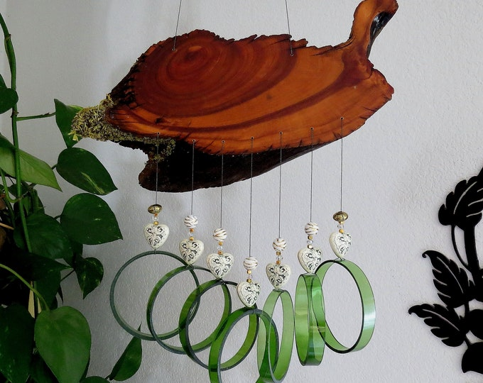 Recycled wine bottle wind chime, Juniper wood,  circle glass wind Chime, Heart beads, Green wind chime, Yard art