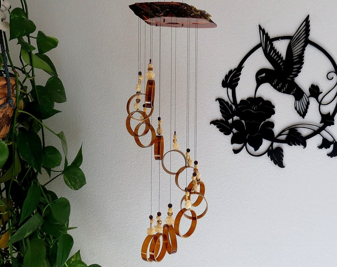 Beer bottle wind chime, Brown glass, Home decor, Brown beer bottle glass, Juniper wood, Gold with Ivory rose beads