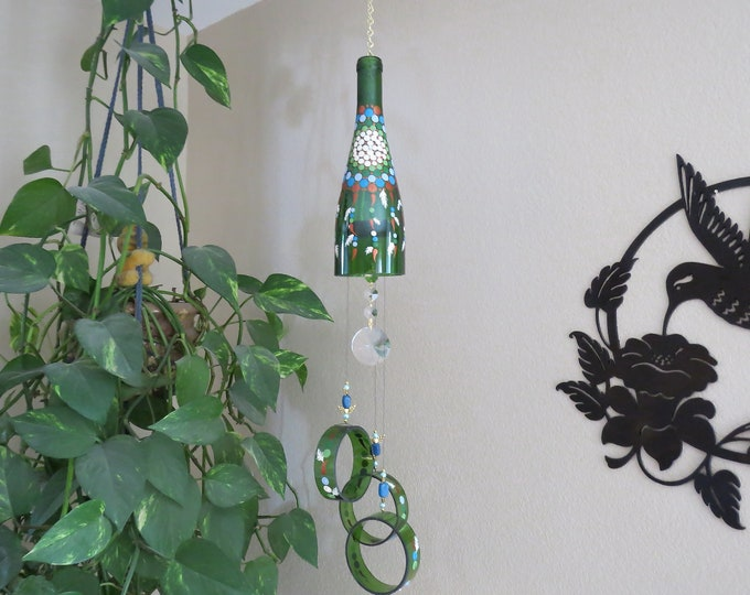 Green wine bottle Wind Chime, Dream Catcher, yard art, patio decor, recycled bottles, House warming gift, Wedding gift, Glass wind chime