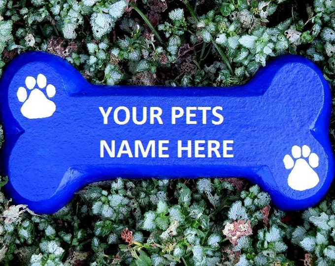 Personalized Dog Sign - Concrete Dog Bone with Name for Garden Wall Also Makes Meaningful Dog Memorial Gift or Dog Grave Marker