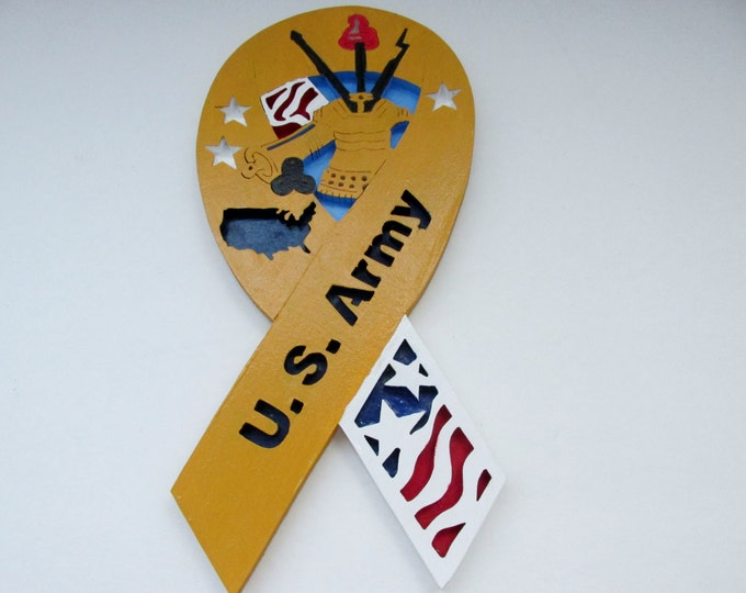 U.S. Army Ribbon,  Wood hand painted military ribbon, Red, White, Blue and Gold