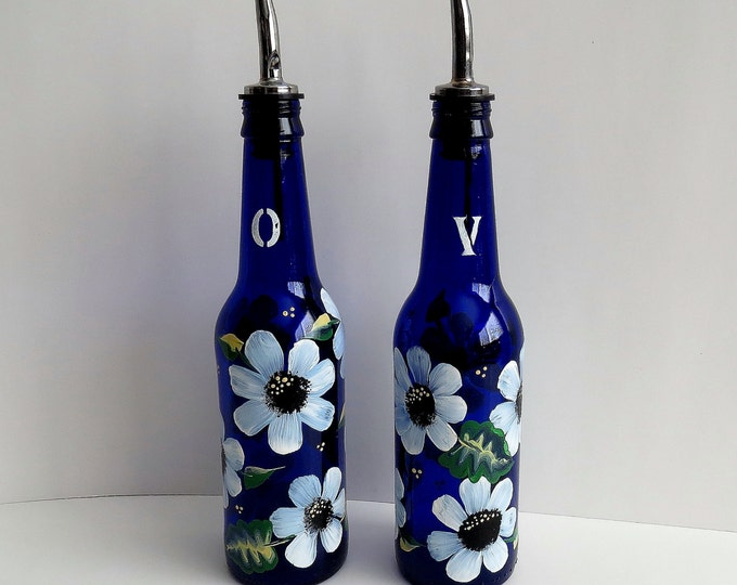 Recycle beer bottle Vinegar and Oil dispensers, Salad dressing bottles, Kitchen decor, cobalt blue beer bottles