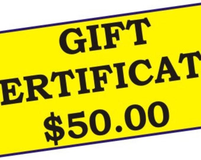 Gift Certificate, 50.00 dollar Gift Certificate for Linda's Yard Art
