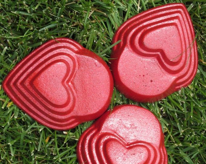 Red heart planter feet,  patio decor, Yard art