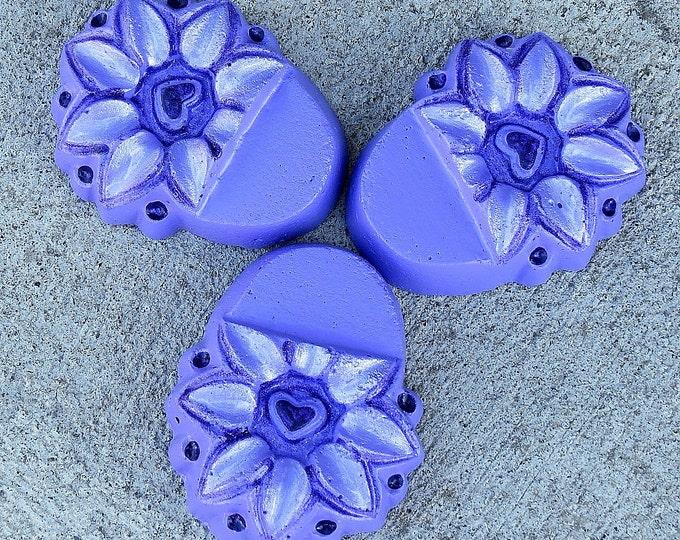 Lavender Flower concrete planter feet with purple accents, patio decor, Yard art, Pot feet, plant stand