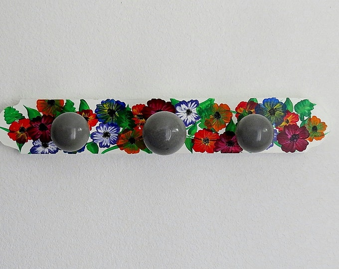 Hand painted coat rack,  concrete light bulb hanger, floral coat rack,  concrete light bulbs,