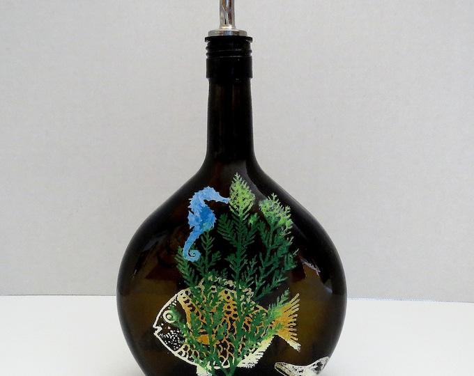 Bottle dispenser, Olive oil, Soap dispenser, Dark Brown glass, Hand painted, Sea scape, Kitchen decor, Fish, Sea horse, Crab, sea shells