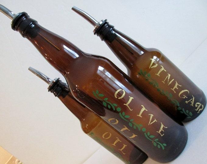 Recycle beer bottle Olive Oil, Vinegar and Oil dispensers set, Salad dressing bottles, Kitchen decor, Beer bottle brown, recycled bottles