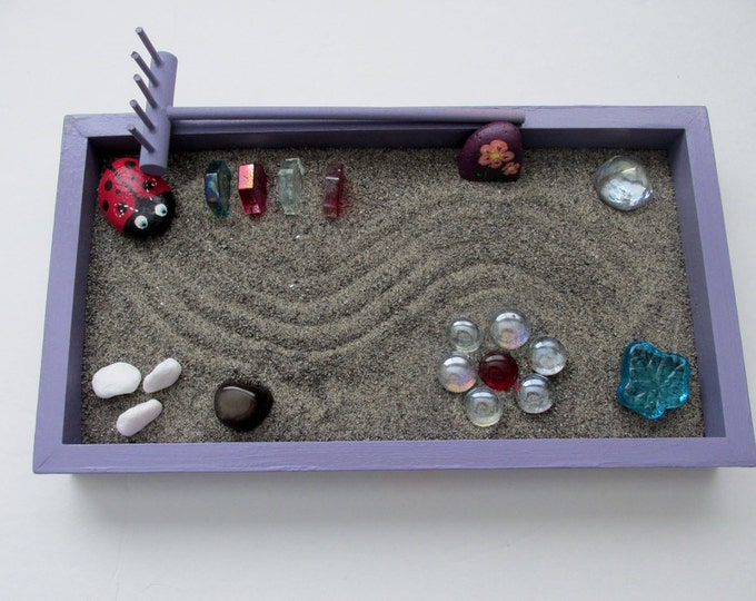 Zen Garden, painted rocks, lady bug, Purple Zen Box, Red and Yellow Flowers, Marbles, Zen Rake