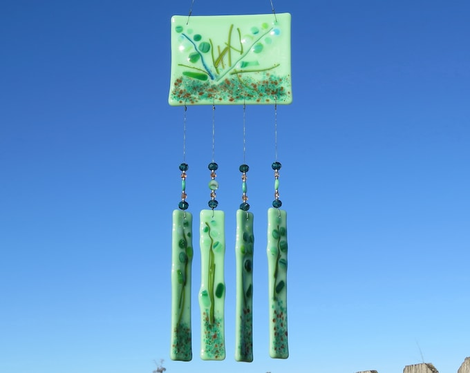 This beautiful wind chime will add color to any area of your yard or patio.  It will make the sweetest sound with just the slightest breeze.