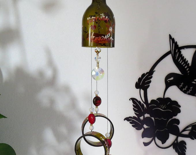 Wine bottle wind chime, Dark Amber wind chime, Inspirational wording, yard art, patio decor, recycled bottle wind chime, hand painted chime