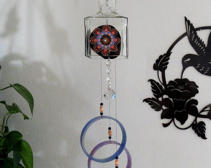 Recycled  bottle wind chime, Large Jack Daniels bottle, Yard art, Glass bottle wind chime, square glass, Circle glass, Dot Mandalas