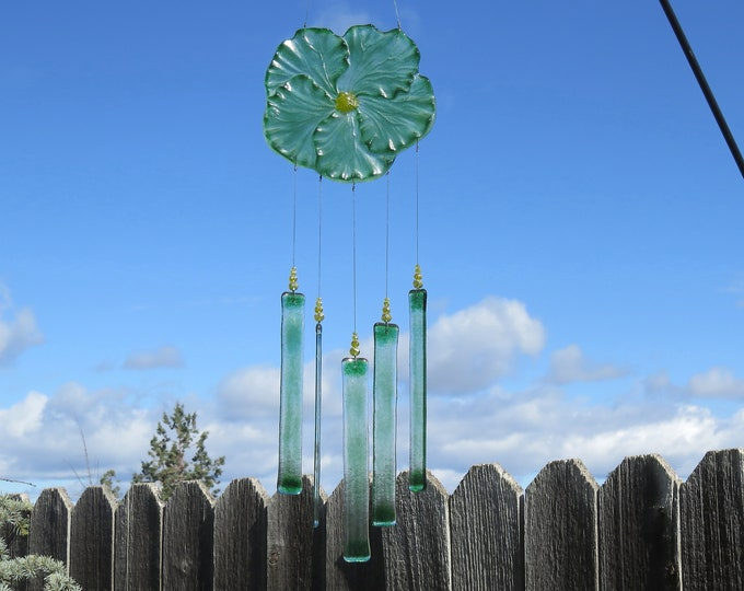 This Green Hibiscus flower wind chime will add that something special to your patio or yard