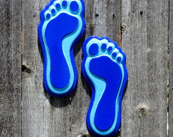 Royal and Light blue concrete hanging feet, hand painted, stepping stones, Fence art,  yard art, patio decor, Cement feet, Hanging feet