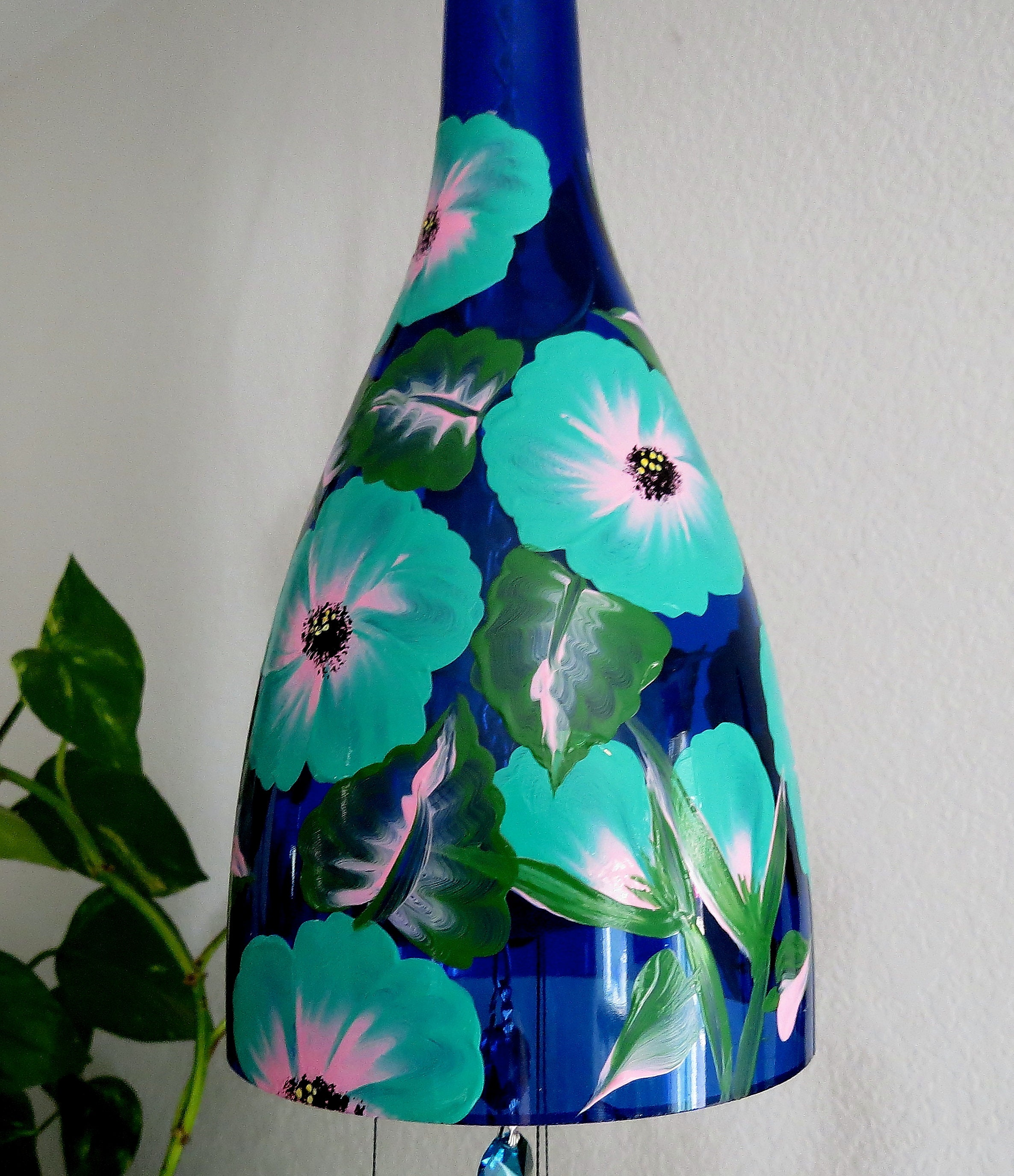 Large Cobalt Blue Wine Bottle Wind Chime Teal And Pink Flowers