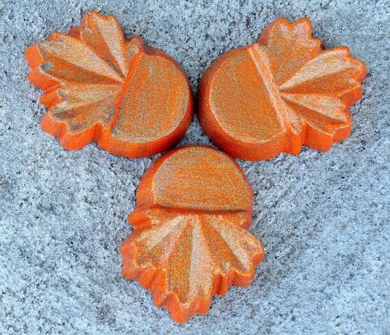 Home decor leaf pot feet Orange with green Metallic overlay Orange leaf planter feet patio decor Concrete planter feet Yard art