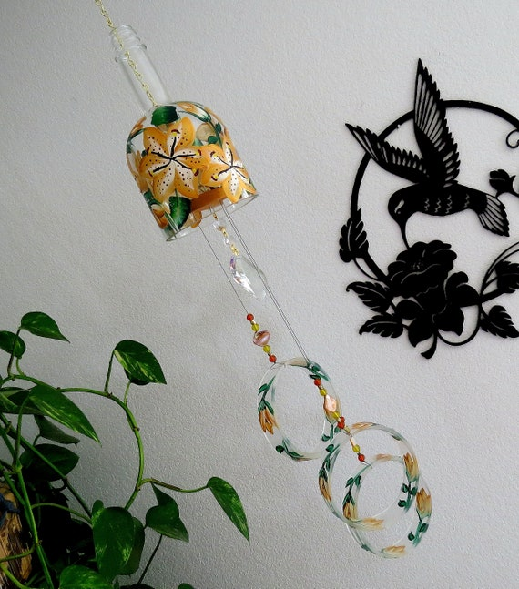 Tiger Lilly Large Vodka Bottle Wind Chime Yard Art Patio | Etsy