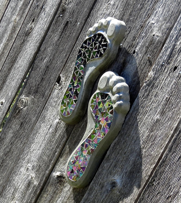 Mosaic Feet, Concrete Mosaic Feet, Fence Art, Yard Decor