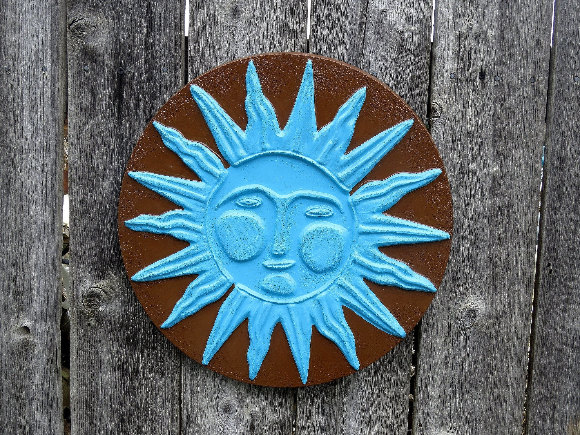 Exceptional Sunface, Concrete Wall Hanging, Plaque, Yard Art, Patio Decor, Brown And  Blue, Fence Art, Sun Face, Garden Decor