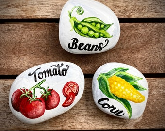 SINGLE Garden Stone, Vegetable Garden Marker, Garden Rock, Garden Sign, Vegetable, Fruit, Herb, Paperweight, Decorative Stone