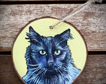 Hand Painted Cat Ornament, Cat Painting, Cat Wall Hanging, Animal Ornament, Animal Painting, Animal Wall Hanging