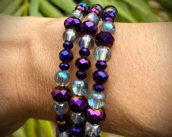 Wrap Bracelet, Memory Wire Bracelet, Beaded Bracelet, Beaded Bracelet Stack, Stack Bracelet