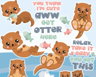 BUY20GET10 - Otter clipart commercial use, clipart, vector graphics, digital clip art, Otter, Otter animal - CL1135