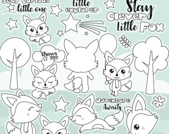80 OFF SALE Fox Digital Stamp Commercial Use Vector Graphics Images