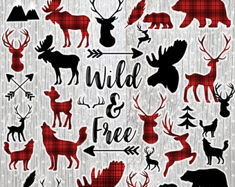 Lumberjack clipart commercial use, deer vector graphics, buffalo plaid woodland digital clip art, antler digital image - CL1171