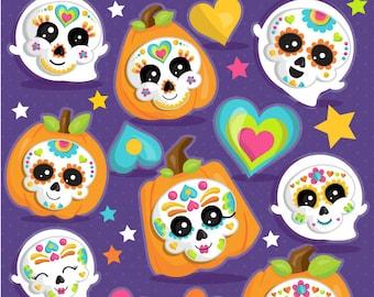 Sugar Skull Clipart Day Of The Dead Commercial Use Vector Graphics Digital Clip Art Dia De Los Muertos CL1104