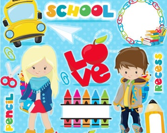 Back to School clipart, school clipart commercial use, kids back to school graphics, digital clip art, digital images - CL1095
