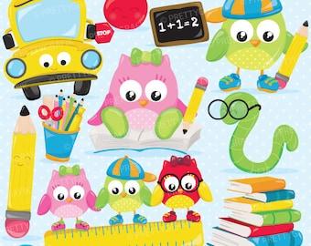BUY 20 GET 10 OFF School owls clipart, clipart commercial use, vector graphics, digital clip art, digital images - CL898