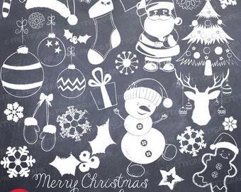 Christmas Chalk doodles clipart commercial use, vector graphics, digital clip art, digital images - CL743