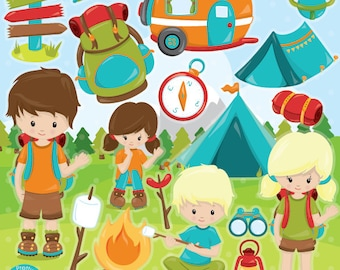 BUY 20 GET 10 OFF camping clipart commercial use, vector graphics, camping digital clip art, scout digital images  - CL993